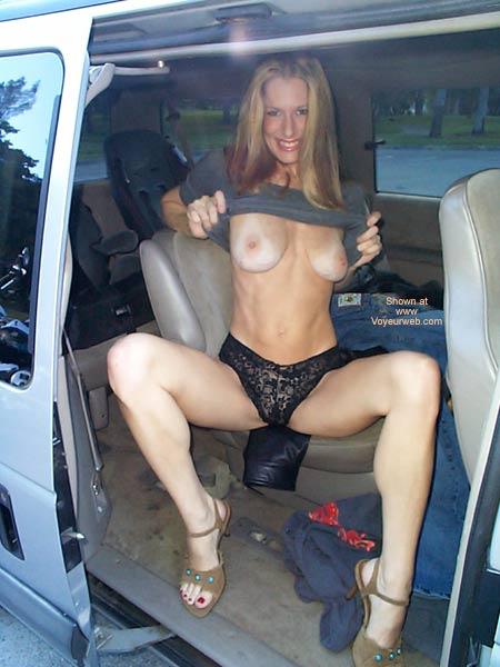 Flashing Boobs In A Car - Nude In Car, Thong , Flashing Boobs In A Car, Black Thong, Girl Sitting In A Van, Titties With Tan Lines, Large Aerola