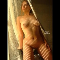 Nude Girl Indoors - Artistic Nude, Full Frontal Nudity, Indoors, Kneeling , Nude Girl Indoors, Kneeling, Frontal Shot, Artistic Lighting, Zebra Shadow