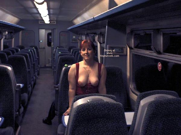 Bare-breasted In Public , Bare-breasted In Public, Large Bare Breasts, Red-headed Topless Woman, Exposed On Bus, Redhead