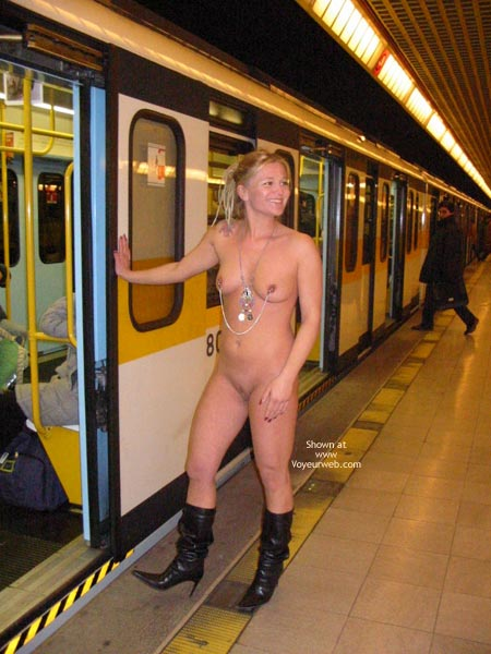 Subway - Boots, Naked Girl , Subway, Public Naked, Boots, Nipple Jewelry, Pierced Nipples