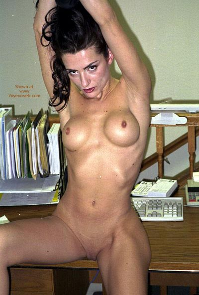 Slim And Fine - Shaved Pussy , Slim And Fine, Shaved Pussy, Naked At Work, Round Tits, Small Hard Nipples