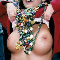 Show Me - Smiling , Show Me, Collecting Beads, In A Crowd, Flashing Rounded Breasts, Brown Eyes Looking Up Smiling, Flashing Funbags For Beads, Mardi Gras