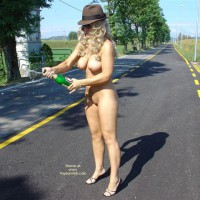 Outside - Nude Outdoors , Outside, Street, Middle Of Road, Champain Wishes, Big Breasts On Road