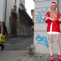 Santa Showing Breast On Street - Stockings , Santa Showing Breast On Street, White Stockings, Red Heels, Petite Tits