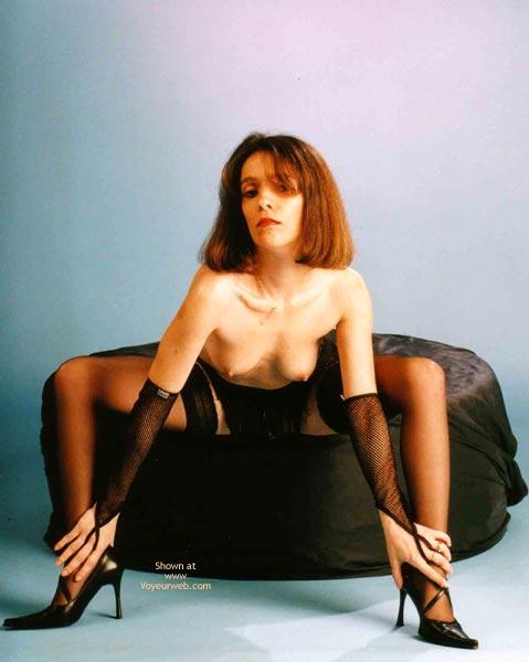 Black Stockings - Brunette Hair, Heels, Stockings , Black Stockings, Brunette Hair, Bend Forward, Sitting Girl, Black High Heels