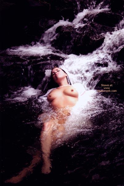 Refreshing A Hot Body - Bath , Refreshing A Hot Body, Laying In Stream, Sweet Bath, Big Breasted Brunette In Waterfall