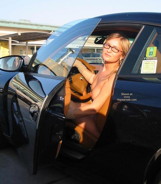 Naked In Car - Glasses , Naked In Car, Glasses, Blonde Nude Driver