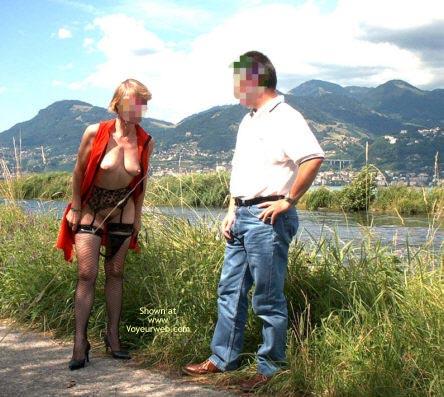 Pic #1 Julie Hsavoie With A Friend In Public