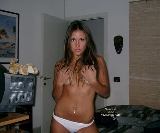 Pierced Navel - Navel Piercing, Sexy Panties , Pierced Navel, Brunette Cupping Tits, White Panties, Brown Hair With Highlights
