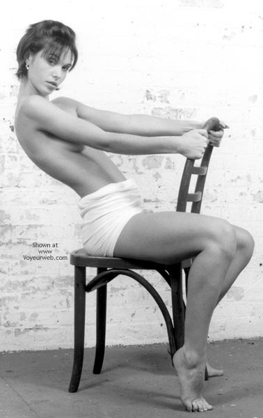 Black  White Photography - Chair , Black  White Photography, Girl Sitting Topless On A Chair, Tiptoes