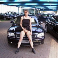 Flashing At A Dealership - Black Dress, Boots, Exposed In Public , Flashing At A Dealership, Exposed In Public, Black Audi, Pussy Show Black Dress, Black Boots, Shaved Audi Girl