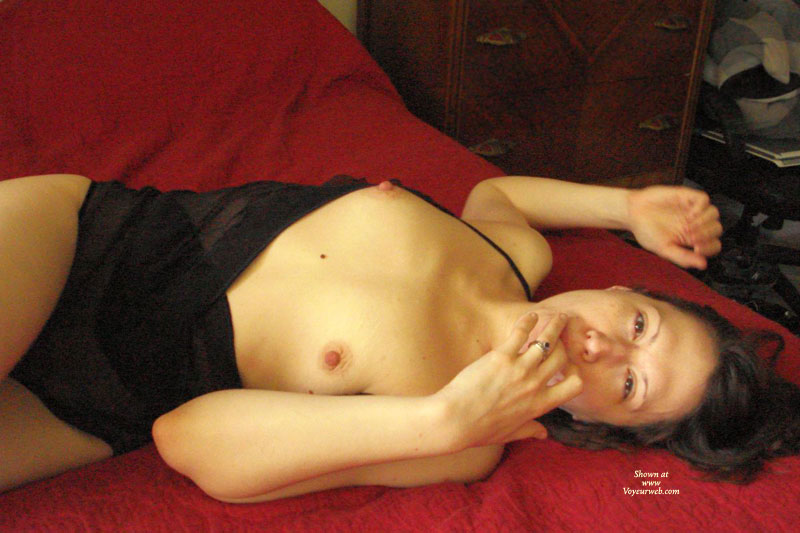 Topless Brunette Reclining - Brown Eyes, Brunette Hair, Erect Nipples, Hard Nipple, Small Tits, Topless, Looking At The Camera , Lying On Bed, Sucking Finger, Sucking Her Finger, Reclining Topless, Finger At Lips, Lying On Top Of Bed, Brown Eyes