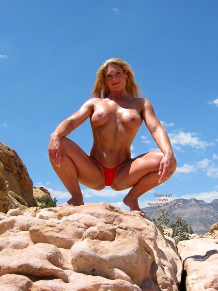 Maneater Outside In Red Thong - Blonde Hair, Thong , Maneater Outside In Red Thong, Muscular Chest And Tits, Blonde, Muscles, Red Thong