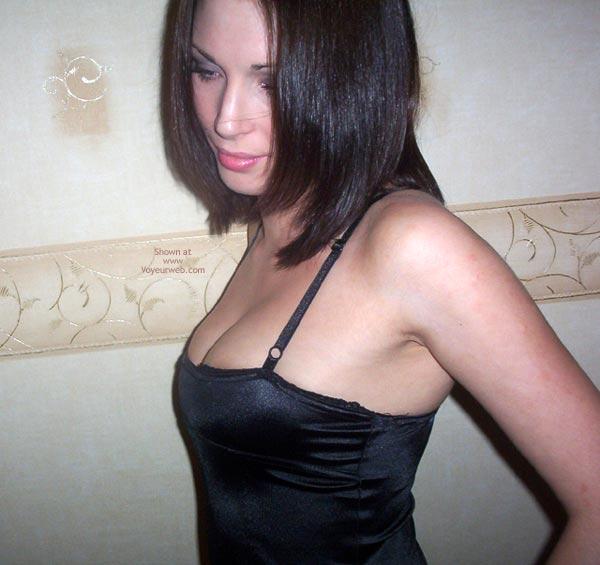 Underwear Slip Dark Hair - Dark Hair , Underwear Slip Dark Hair, Spaghetti Straps, Cleavage Tight Black Dress