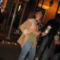 Mardi Gras Girl - Flashing , Mardi Gras Beads, In The Big Easy, Peek A Boob, Blue Denim Jeans, Mardi Grass, Flashing Tits In Public, Beads And Boobs, Shes Almost Drunk, Beads And Breasts, Shirt Pulled Down Showing Tit, New Orleans Tit Show