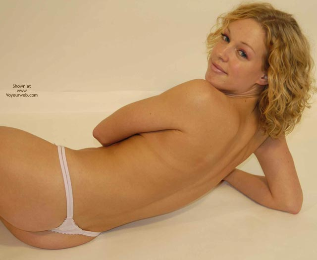 Topless Blonde - Blonde Hair, Blue Eyes, Lying Down, Thong , Topless Blonde, Blonde Hair, Lying Down, Blue Eyes, White Thong