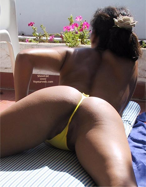 Rear Shot - Black Hair, Rear View, Thong , Rear Shot, Yellow Bikini Bottom, Shot Between Her Legs, Dark Skin Brunette, Yellew Thong, Yellow Butt Floss, Laying On Stomach Legs Spread Wide, Yellow Thong, Black Hair, Rear View From Thighs And Up.