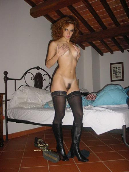 Black Stockings - Boots, Small Breasts, Stockings , Black Stockings, Black Boots, Dark Full Bush, Covering Boobs With Hands, Hidden Nipples, Small Breasts