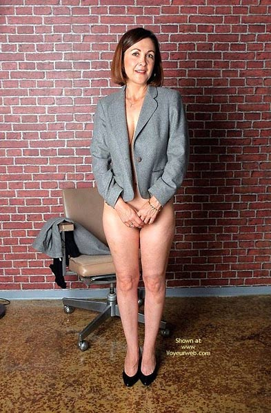 Milf In Black Heals - Mature , Milf In Black Heals, Covered Pussy, Innocent Mature, Standing Pensive, Mature Shy, Business Suit