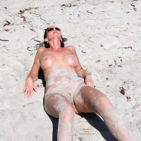 On The Beach - Nude Beach , On The Beach, Covered In Sand, Sandy Vagina