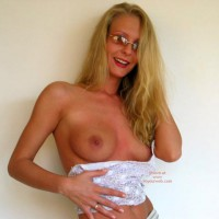 Long Blonde Hair - Long Hair, Small Boobs, Topless , Long Blonde Hair, Topless, Wearing Glasses, Burnt Small Boobs