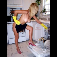 Topless In Kitchen - Blonde Hair, Huge Tits , Topless In Kitchen, Large Boobs, Nude Housework, Red Sandals, Yellow Gloves, Blonde, High Heels In Kitchen