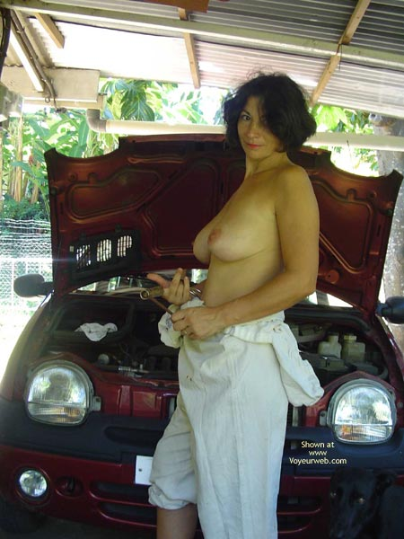 Topless Car Mechanic , Topless Car Mechanic, Big Boobs With Rachet