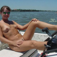 Naked In Boat - Landing Strip, Nude In Public, Sunglasses, Tan Lines , Naked In Boat, Sunglasses, Landing Strip, Tan Lines, Nude In Public