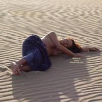 Long Red Hair - Large Breasts, Long Hair, Topless , Long Red Hair, Desert Girl, Reclining On Sand, Topless, Large Breasts