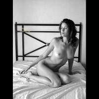 Nude On The Bed - Bed , Nude On The Bed, Touching Foot, Side Lit Pose, Artsy Black And White