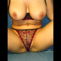 Big Breasts - Big Tits, Sexy Lingerie , Big Breasts, Red Black Lingerie, Showing Off On The Blue Leather Couch