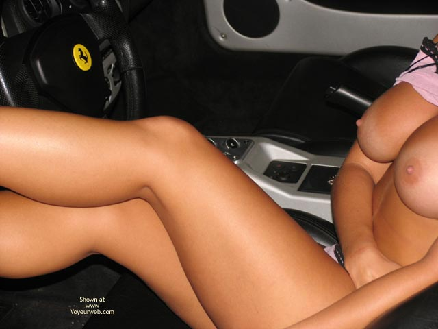 Long Shaved Legs - Nipples , Long Shaved Legs, Inside Mustang, Shirt Pulled Up, Car Nipples