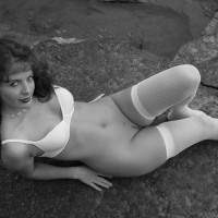 Trimmed - Black And White, Landing Strip, Nude Outdoors , Trimmed, Pussy On The Rocks, White Bra And Stockings, Black And White, Landing Strip, Outside On The Rocks, White Stockings
