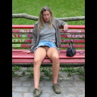 Eip - Long Hair , Eip, Shaved Pussy Upskirt, Long Blonde Hair, Sitting, Park Bench, No Panties Upskirt, Jean Skirt