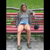 Eip - Long Hair , Eip, Shaved Pussy Upskirt, Long Blonde Hair, Sitting, Park Bench, No Panties Upskirt, Jean Skirt