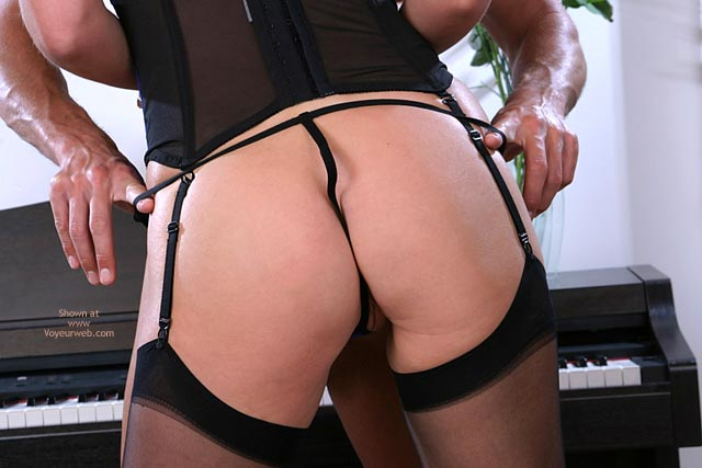 Black Lingerie - G String, Stockings, Sexy Ass, Sexy Lingerie , Black Lingerie, Ass Shot, Couple In Ass Shot, String Thong Up Crack, Stockings And Halter, Couple Standing In Front Of A Piano, He Pulls Her String Off, Black Stockings, Black Bustier, Black G-string