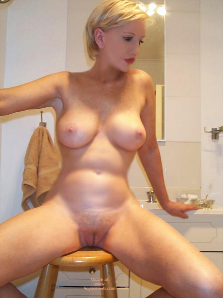 Short Blond Hair , Short Blond Hair, Spreading Legs On Stool In Bathroom, Full Frontal Bathroom Play