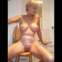 Short Blond Hair , Short Blond Hair, Spreading Legs On Stool In Bathroom, Full Frontal Bathroom Play
