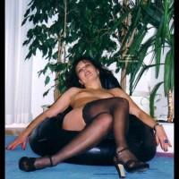 Nude Woman  Black Stockings  Seated - Heels, Stockings , Nude Woman  Black Stockings  Seated, Black Stockings Seated, Black Stockings, High Heels, Black Thigh Highs, Legs Crossed  Black Stockings