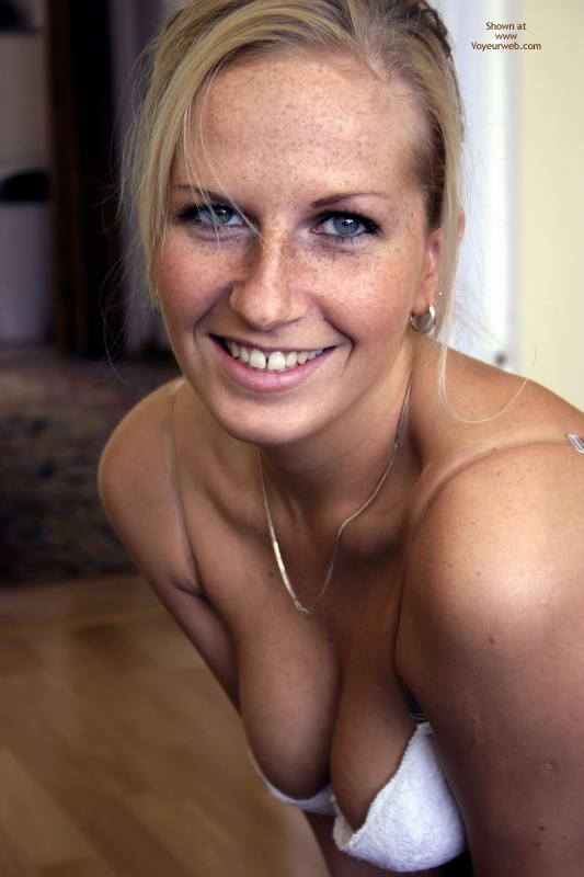 Sexy Speckles - Blue Eyes, Sexy Face, Sexy Wife , Pretty Smile, Cute Blond, Eyes And Mouth Displaying Desire, Gold Earing, Portrait Face, Blue Eyed Blond Smile, Eyes Full Of Promise, Beautiful, Freckle Face, Sexy Eyes