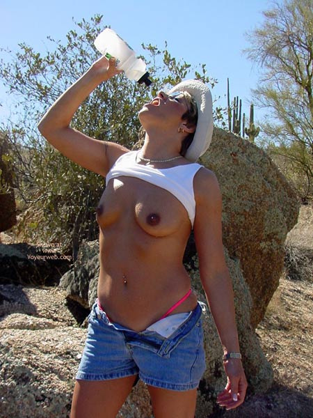 Ping Gstring - Jeans , Ping Gstring, Water Bottle, Jeans, Small Breasts, Nude In Desert