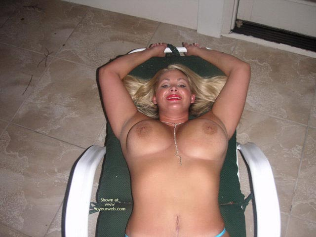 Milf Posing Outdoor - Big Tits, Red Lips , Milf Posing Outdoor, Big Tits, Blond With Big Tits, Red Lips, Blonde With Big Boobs On Lounge Chair, Topless On Outdoor Furniture