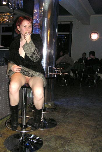 Pantyless Girl In Public - Boots , Pantyless Girl In Public, Posing In Restaurant, Black Boots