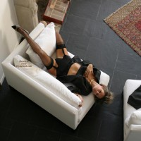 Girl Lying On A Chair - Chair, Stockings, Touching Herself, Sexy Lingerie , Girl Lying On A Chair, Couch Pose, Looking Down, Black G-string, Black Stockings, Black Lingerie, Touching Herself