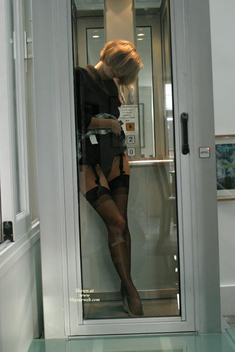 Suspenders And Stockings In Public - Stockings, Nude Amateur , Suspenders And Stockings In Public, Public Phone Booth, Short Hair Blonde, Thigh Highs, Black Stockings, Office Nude, Fetish Dress