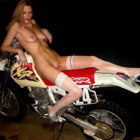 White Stockings - Stockings , White Stockings, Sitting On Motorbike, Nude On Motorcycle, Naked On A Dirt Bike, Blonde On A Bike