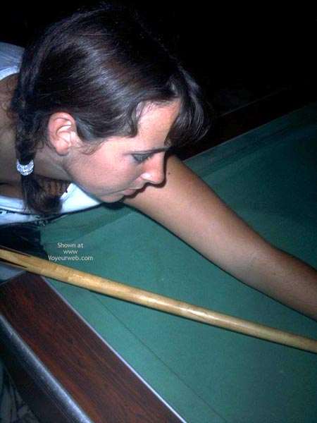 Pic #1 Busty Girl Bending Over Pool Table