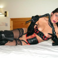 Corset And Bustier - Small Breasts , Corset And Bustier, Whip In Hand, Leather And Lace, Small Breasts