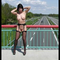 Flashing The Traffic - Nude In Public, Shaved Pussy , Flashing The Traffic, Nude In Public, Black Stockings And Suspenders, Naked On Bridge, Shaved Pussy, Public Exposure, Freeway Flashing