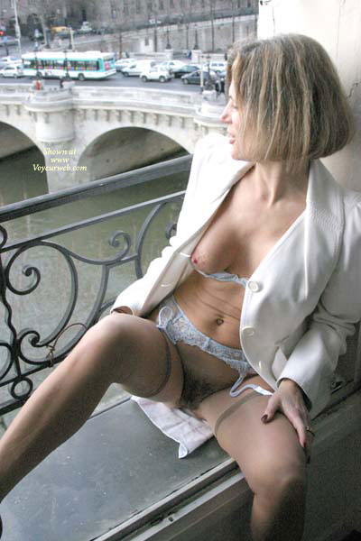 Public Exposure - Brunette Hair, Exposed In Public, Hairy Bush, Stockings , Public Exposure, Bush, Brunette, Sexy Pose, White Blazer And Blue Garters And Bra, Quick Flash, Stockings